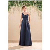 B2 by Jasmine B183020 - A-Line Blue Satin Floor Natural - Formal Bridesmaid Dresses 2018|Pretty Cust