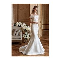 Tarik Ediz 2017 G2026 Satin Elegant Chapel Train Ivory Off-the-shoulder Appliques Mermaid Short Slee