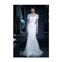 Mark Zunino for Kleinfeld - 2014 - Style 78 Silk Crepe Sheath Wedding Dress with Cut Outs and Short