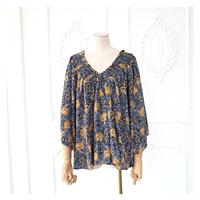 Oversized Vintage Printed V-neck 3/4 Sleeves Summer Blouse Top - Discount Fashion in beenono