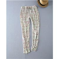 Countryside Casual Sweet Printed Banded Waist Cotton Comfortable Long Trouser - Discount Fashion in