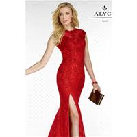 Red Mermaid Lace Slit Gown by Alyce Black Label - Color Your Classy Wardrobe