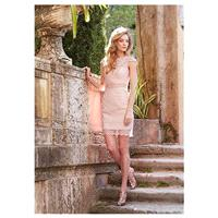 Chic Lace Bateau Neckline Short Sheath Bridesmaid Dress - overpinks.com