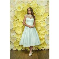 Style D045 by Daisy by Alexia - Ivory  White Satin Illusion back Tea Sweetheart  Illusion A-Line Cap