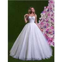 Amelia Sposa 2018 Savina Sweet Chapel Train Ivory Ball Gown Sleeveless Sweetheart Tulle Embroidery B