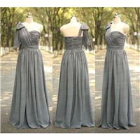 Grey Bridesmaid Dress Handmade Pleat Chiffon Long Wedding Party Gowns Long Grey Prom Dress Evening D