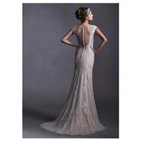 Elegant Tulle & Lace Scoop Neckline Natural Waistline Mermaid Wedding Dress With Lace Appliques - ov