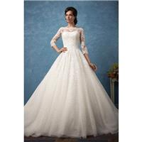 Amelia Sposa 2017 Enrica Ivory Sweet Tulle Winter Appliques Chapel Train Bateau Ball Gown 3/4 Sleeve