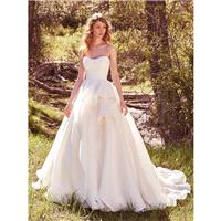 Maggie Sottero Spring/Summer 2017 Bianca Marie Covered Button Ivory Organza Strapless Chapel Train B