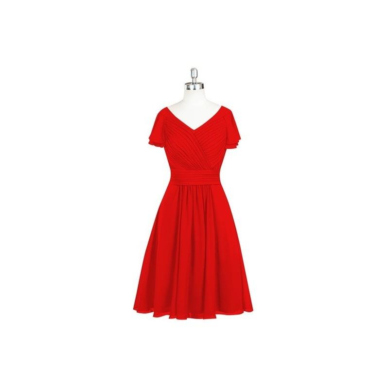My Stuff, Red Azazie Hadley - Knee Length Chiffon V Neck Back Zip Dress - Simple Bridesmaid Dresses