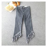 Asymmetrical Fringe Zipper Up Cowboy Summer Buttons Long Trouser - Discount Fashion in beenono