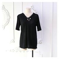 Slimming V-neck Pearls Summer Short Sleeves Top Knitted Sweater - Discount Fashion in beenono