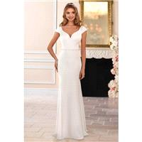 Style 6409 by Stella York - Ivory  White Crepe Belt  V-Back Floor Sweetheart Body-skimming Capped We
