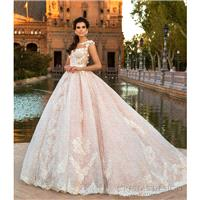 Crystal Design 2017 Evely Lace Hand-made Flowers Sweet Illusion Chapel Train Ball Gown Sleeveless Pi