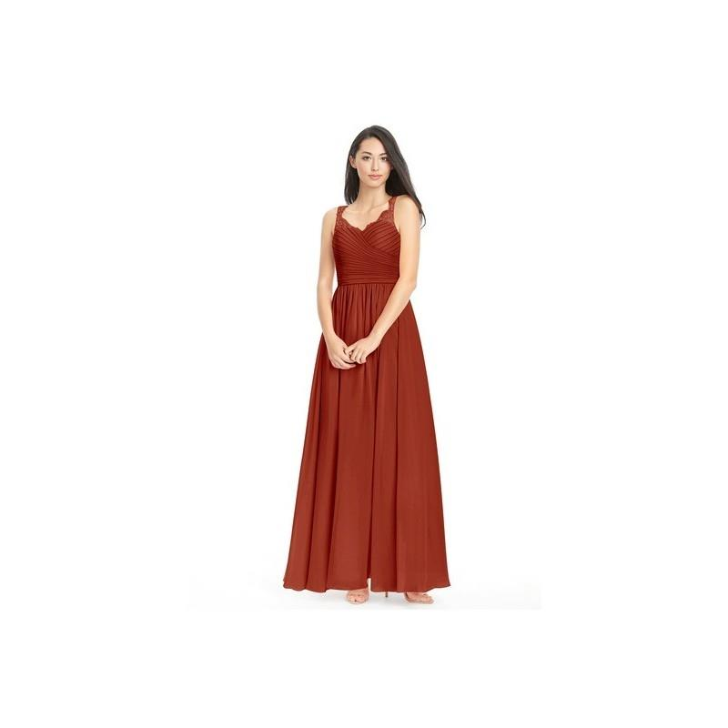 My Stuff, Rust Azazie Danny - Sweetheart Keyhole Floor Length Chiffon And Lace Dress - Simple Brides