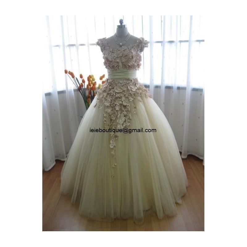 My Stuff, Beautiful Beige Tulle Autumn Fall Wedding Dress CM1005 - Hand-made Beautiful Dresses|Uniqu