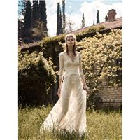 Christos Costarellos Spring/Summer 2018 Vintage Sweep Train Ivory V-Neck Aline 3/4 Sleeves Appliques