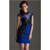 Sapphire/Black Hish Scooped Neckline Cocktail Dress by Clarisse - Color Your Classy Wardrobe