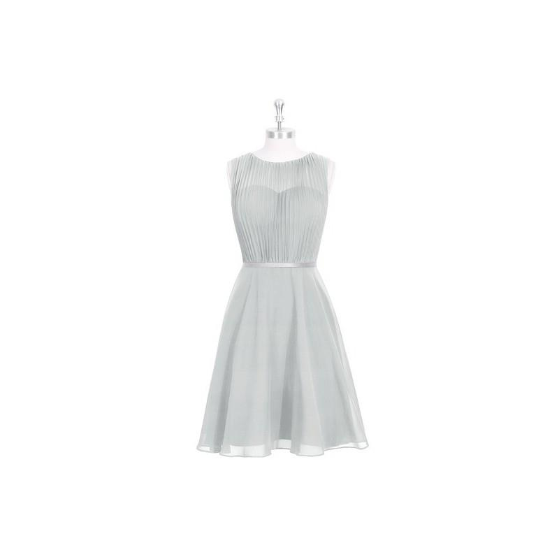 My Stuff, Silver Azazie Mariam - Chiffon And Charmeuse Illusion Knee Length Scoop Dress - Charming B