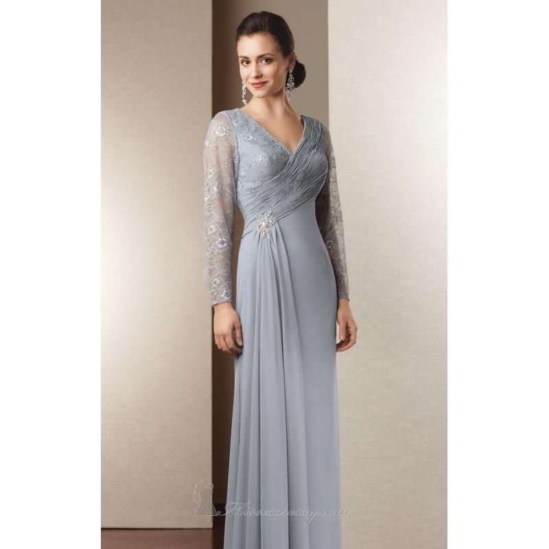 My Stuff, Pearl Grey Long Sleeved Evening Gown by Alyce Jean De Lys - Color Your Classy Wardrobe