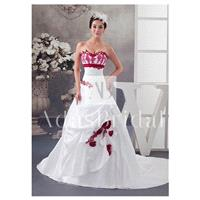 Elegant Taffeta Sweetheart Neckline A-line Wedding Dresses With Beaded Lace Appliques - overpinks.co