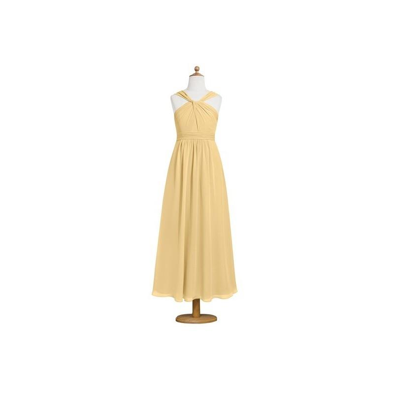 My Stuff, Gold Azazie Dora JBD - V Neck Ankle Length Back Zip Chiffon Dress - Charming Bridesmaids S