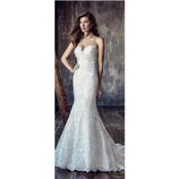 Eddy K. CT200 2018 Ivory Sweet Chapel Train Sweetheart Sleeveless Column Lace Covered Button Embroid