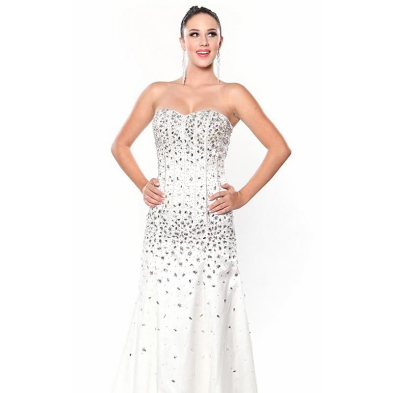 My Stuff, Ivory Beaded Strapless Gown by Atria - Color Your Classy Wardrobe