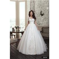 Romantic Handmade Wedding Dress with Long Illusion Sleeves, Illusion Neckline, Long Tulle Train, Dec