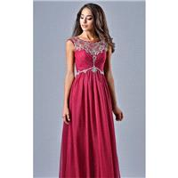 Wine Beaded Open Back Gown by Nina Canacci - Color Your Classy Wardrobe