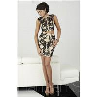 Black/Nude Hannah S 27066 - 2-piece Short Lace Dress - Customize Your Prom Dress
