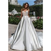 Crystal Design 2018 Kinsley Illusion Sleeveless Ball Gown Ivory Open Back Satin Beading Sweet Chapel