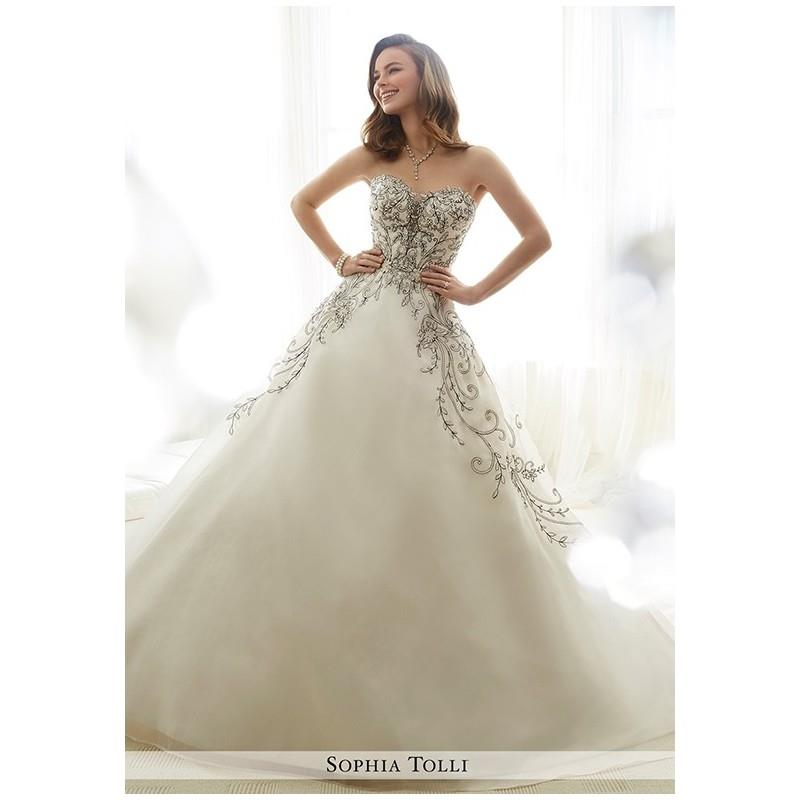 My Stuff, Sophia Tolli Y11709 Emeline - Ball Gown Strapless Natural Floor Chapel Organza Beading - F
