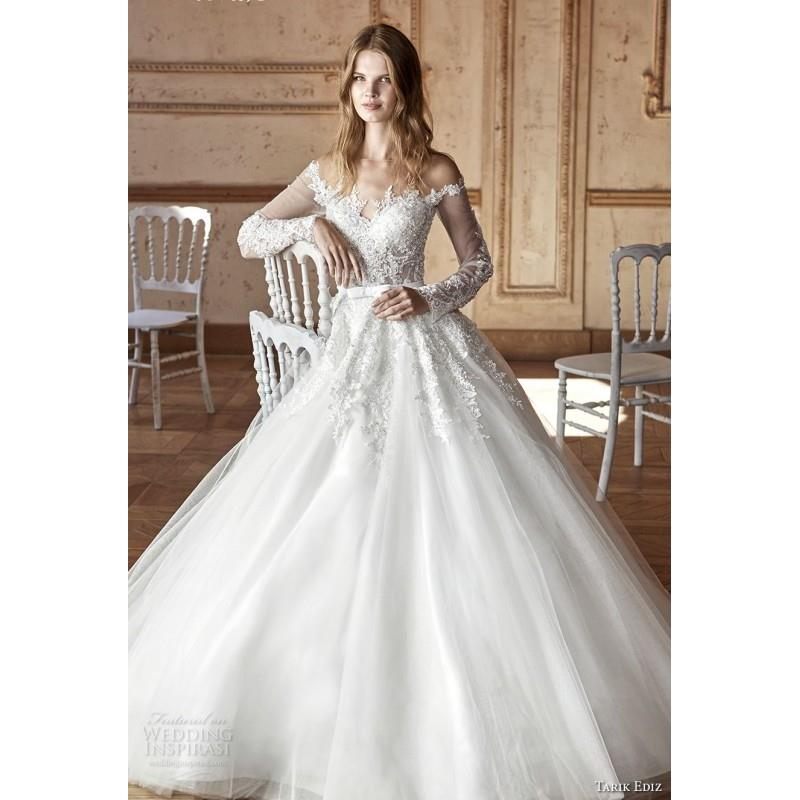 My Stuff, Tarik Ediz 2017 G2059 Illusion Ball Gown Ivory Court Train Sweet Long Sleeves Appliques Tu