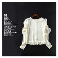 Split Front Hollow Out Scoop Neck Spring Frilled Long Sleeves Lace Chiffon Top - Lafannie Fashion Sh