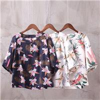 Must-have Printed Slimming Ramie Summer Short Sleeves Blouse Top - Discount Fashion in beenono