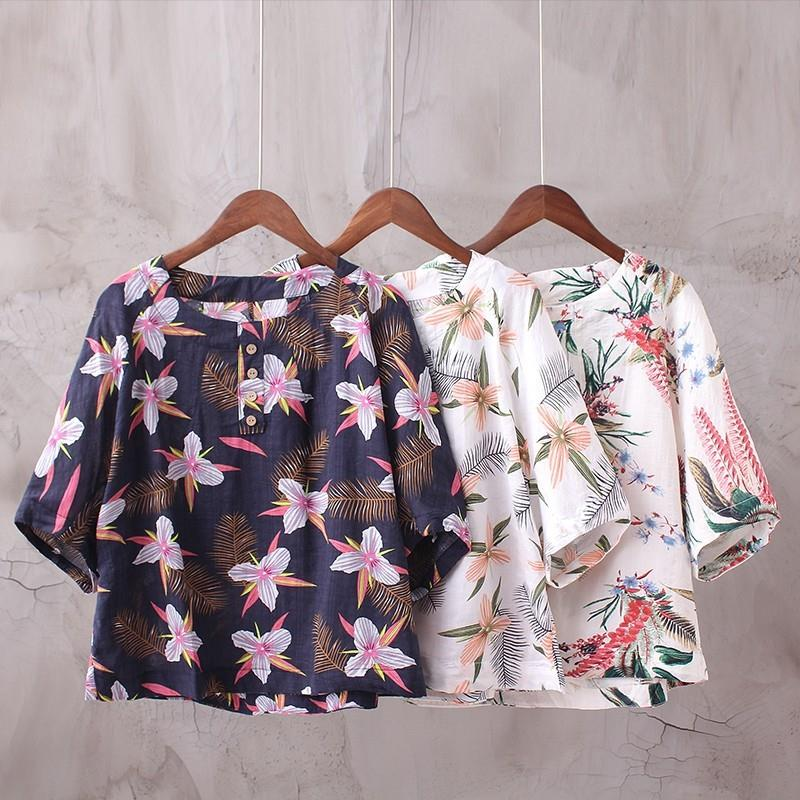 My Stuff, Must-have Printed Slimming Ramie Summer Short Sleeves Blouse Top - Discount Fashion in bee