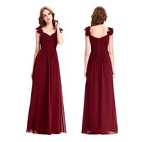 Alluring Romantic Deep Maroon Burgundy Bridesmaid Dress Long with Shoulder Floral Detailing - Hand-m