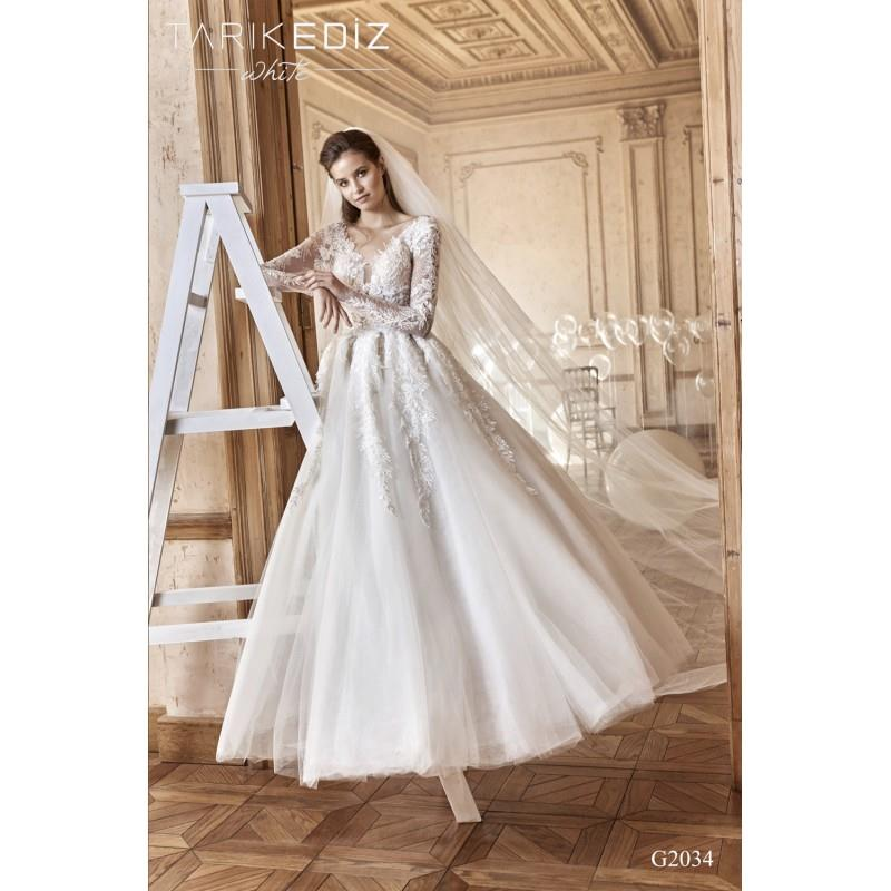 My Stuff, Tarik Ediz 2017 G2034 V-Neck Ivory Tulle Ball Gown Sweet Appliques Long Sleeves Sweep Trai
