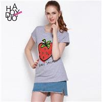 Strawberry in summer 2017 new stylish slim comfort women printing t shirt - Bonny YZOZO Boutique Sto