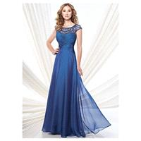 Fashionable Tulle & Chiffon Scoop Neckline A-Line Mother of the Bride Dresses With Beads - overpinks