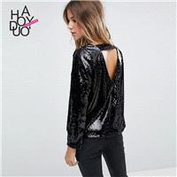 Vogue Open Back Hollow Out Sequined One Color Fall 9/10 Sleeves T-shirt - Bonny YZOZO Boutique Store