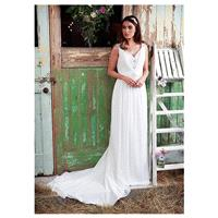 Alluring Chiffon V-neck Neckline Sheath Wedding Dresses with Beaded Embroidery - overpinks.com