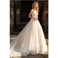 Louise Sposa 2018 Emberlynn Royal Train Elegant Champagne Ball Gown Illusion Cap Sleeves Lace Spring