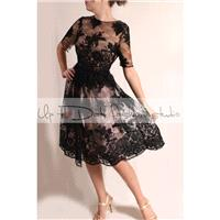 Little black lace wedding dress with sleeve/romantic  bridal gown V back - Hand-made Beautiful Dress