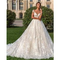 Crystal Design 2018 Steffani Cream Chapel Train Sweet Illusion Ball Gown Cap Sleeves Lace Covered Bu