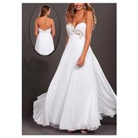Graceful Chiffon A-line Strapless Sweetheart Empire Waist Embellished Floor Length White Prom Gown -