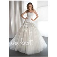 Demetrios 1439 - Ball Gown Strapless Dropped Floor Chapel Tulle White or Ivory Lace Corset - Formal