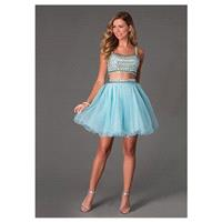 Elegant Tulle Square Neckline A-line Homecoming Dresses with Beadings & Rhinestones - overpinks.com