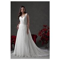 Fabulous Silk Like Chiffon Scoop Neckline A-line Wedding Dresses with Lace Appliques - overpinks.com